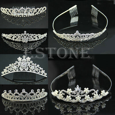 Wedding Rhinestone Bridal Crystal Hair Headband Crown Comb Tiara Prom Pageant