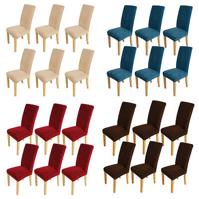 6pcs Super Fit Dining Chair Covers Stretch Cover Protector Slipcover Washable AU