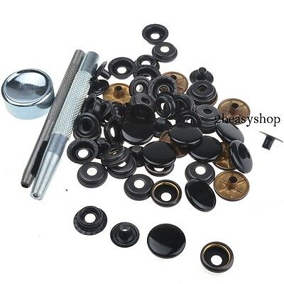 17mm x15 Heavy Duty Black Snap Fasteners Press Studs Kit Buttons Die Punch Tool