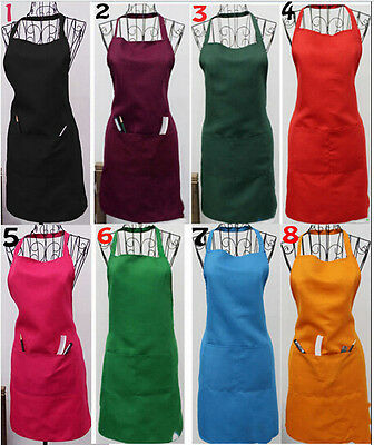 Hot New Women Solid Cooking Kitchen Restaurant Bib Apron Dress with Pocket Gift