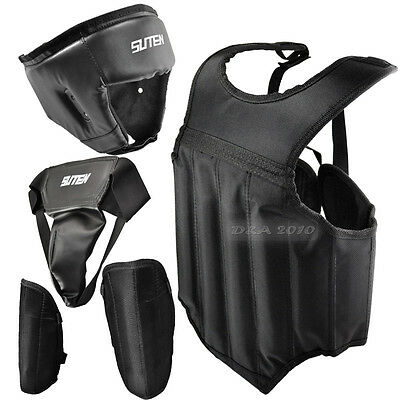 New Headgear Chest Groin Leg Cup 4PCS Kit Set Protector Guard MMA Martial Boxing