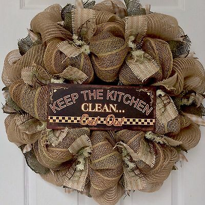 Keep The Kitchen Clean Eat Out Wreath Handmade Deco Mesh