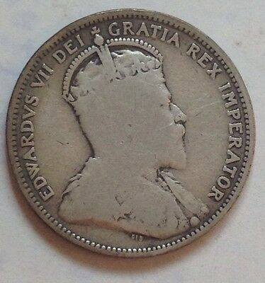 1904 Canada Silver 25 Cent Coin Canadian Twenty-Five Cents Quarter