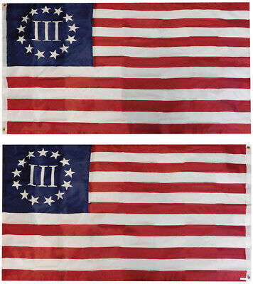 3x5 Betsy Ross Nyberg 3 Percent flag 3'x5' Double Sided Poly Sewn 2ply grommets