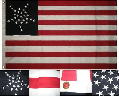3x5 Embroidered Sewn Texas Union Luminary Star 100% Cotton Flag 3'x5' 2 Clips