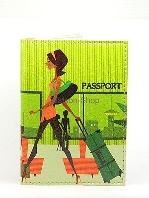 PASSPORT Cover Case Travel Wallet - Young Lady - Faux leather, Romantic design