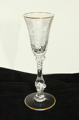 Cambridge Glass Crystal # 3121 Stem Wildflower Etch 1 Oz. Cordial Gold Trim