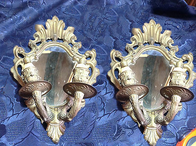 Art. 108 - IGAS - Fantastic couple of APPLIQUE in brass with glass