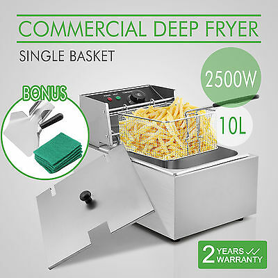 NEW Commercial Deep Fryer Electric Single Basket Benchtop Stainless Cooker Chip