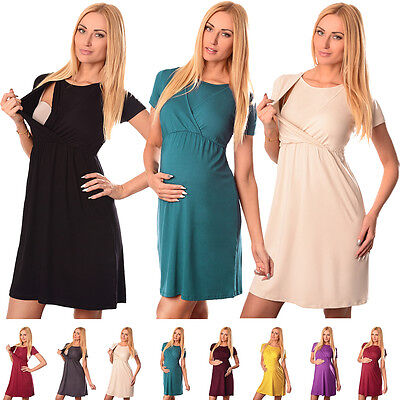 Comfortable 2in1 Maternity and Nursing Short Sleeved Scoop Neck Top Dress 7200
