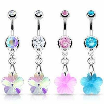 Lot Bodfx Belly Ring Set - Assorted Surgical Steel Crystal Ray Prism Navel Rings