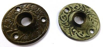 2 Door Knob Escutcheons Old Antique Brass Victorian Eastlake Art Deco