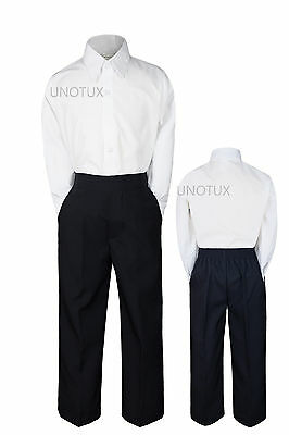 2pc Baby Boys Toddler Kid Teen Wedding Formal Suits White Shirt Black Pants S-20