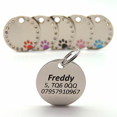 Personalised Engraved 30mm Diamante Paw Print Tag Dog Cat Pet ID Tags Reflective