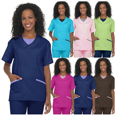Medical Nursing Women Scrub NATURAL UNIFORMS Contrast JERSEY Full Set Top Pants