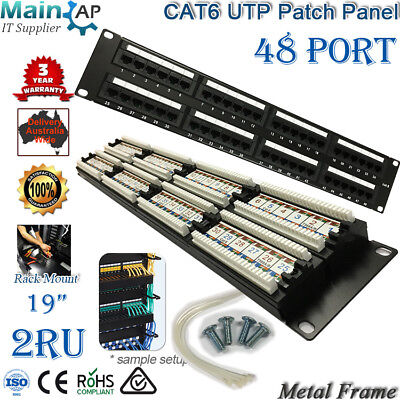 """Cat6 Utp  19"""" Patch Panel Dual Use Idc 48 Ports With Back Bar Shielded"""