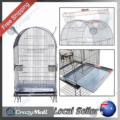 Feeders & Wheels Bird Cage Cockatiel Parrot Aviary Black with Curved Stand