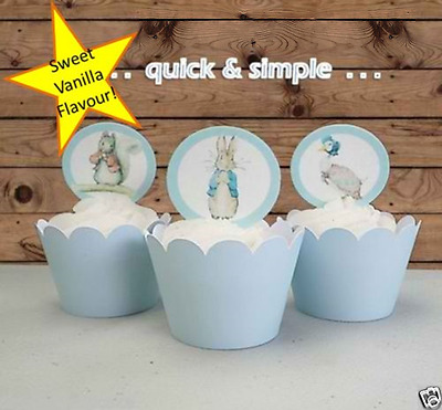 Peter Rabbit Boy Baby Shower circle EDIBLE wafer cupcake cake toppers PRE-CUT