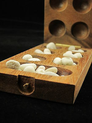 Mini Kalaha 6.5 inch wooden strategy board game with stones