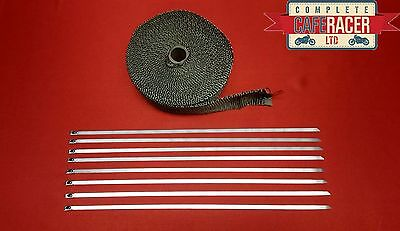 Basalt Ceramic Exhaust Wrap Twill Weave Titanium 15M With Stainless Steel Ties