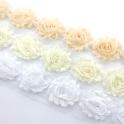 10 Shabby Chiffon rose flower trim White/ivory/nude for millinery, hair, crafts