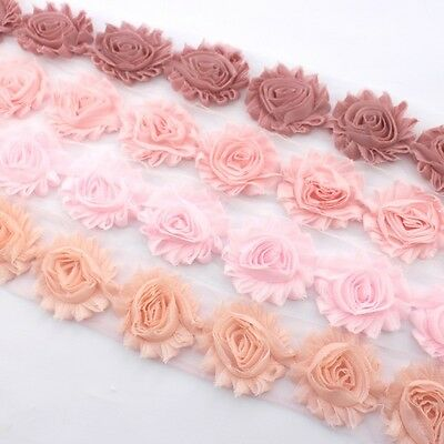 10 Shabby Chiffon flower trim peach/baby pink/dusty pink- millinery, hair, craft