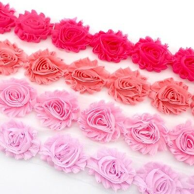 10 Shabby Chiffon rose flower trim pink/coral pink/hot pink-millinery,hair,craft