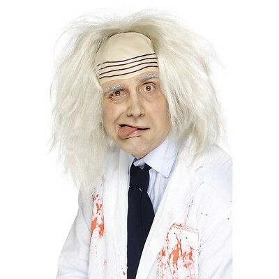Mens Madman Wig Grey Bald Top Einstein Mad Scientist Fancy Dress Doc Brown B2TF