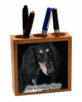 Saluki   black color   ( 10 )    Personalized  Pencil and Pen Holder