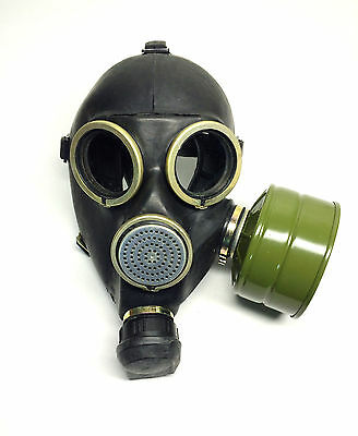 soviet russian black rubber gas mask GP-7 with filter 40mm