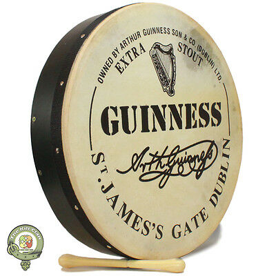 Traditional 18 Inch Guinness Bodhran Drum, Celtic Bodhran Drum - Free Carry Case