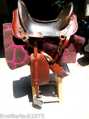 new cowboy mcclellan horse leather saddle with attachments, saddle blanket.