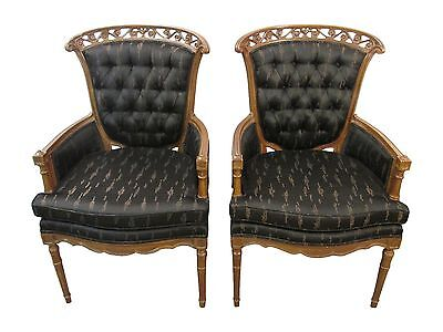 Pair of Matching French Regency Upholstered Tufted-Back Arm Chairs