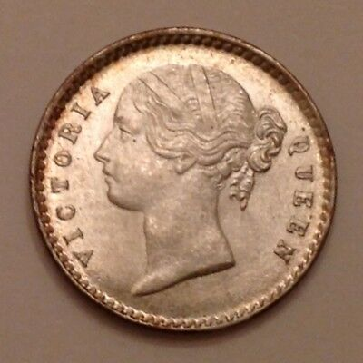 - 1841 East India Company Victoria Two 2 Silver Annas Uncirculated - W.W. Raised