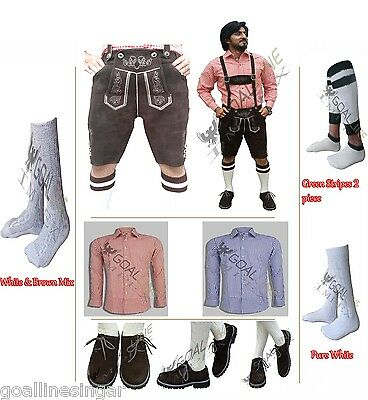 German Bavarian Oktoberfest Trachten Package-Lederhosen+Shirt+Shoes+Socks Limitd
