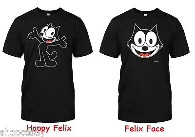 f3b5cc8f87bb FELIX THE CAT Happy, Face, Classic Cartoon, Black, Adult Size T ...