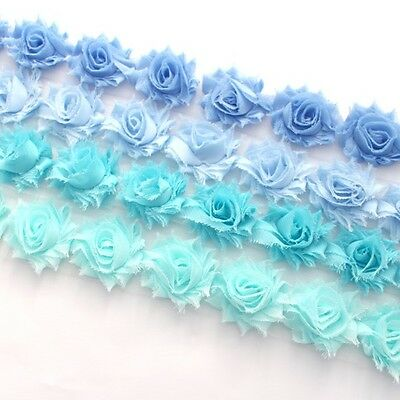 14 Mini Shabby Chiffon flower trim aqua/baby blue/blue - millinery, hair, craft
