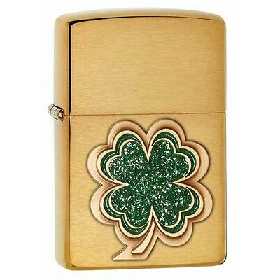 Zippo Windproof Lighter With Green Shamrock Emblem, # 28806, New In Box