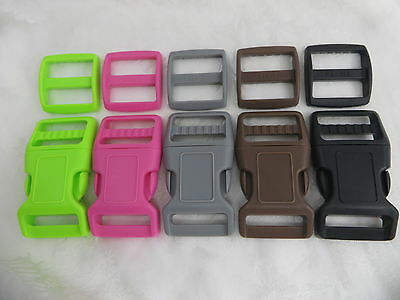 5x 1-1/4''(32mm) Curved Dog Collar Plastic Buckle & Trigldies- 5colors