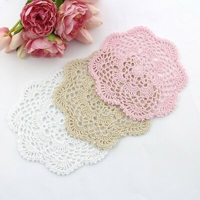 Crochet doilies light pink/cream/white 18 - 21cm for millinery and crafts