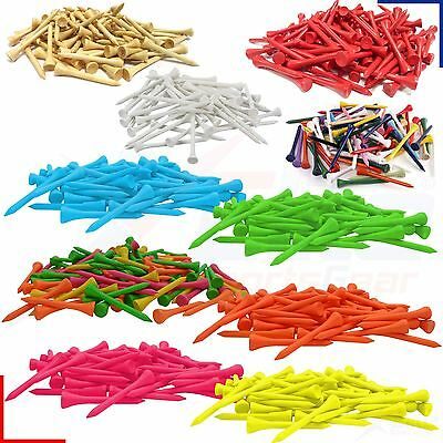 83mm Wooden Golf Tees - Various Colours- 10/25/50/100/250/500 Qtys *FREE UK P&P*