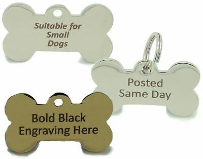 Personalised Engraved Brass or Silver Bone Pet Tags Small Medium Dog Tag 38*22mm