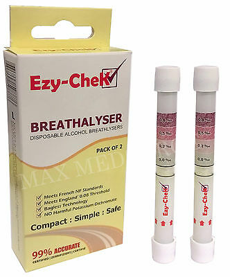 6x Ezy-CheK Disposable Alcohol Breathalyser - UK & France NF Standards, 99% Acc