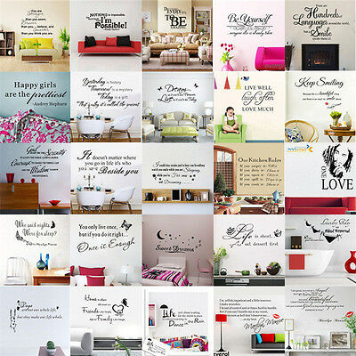 Removable Art Vinyl Wall Sticker Decal Mural Home Room Decor Quote Word Poem DIY