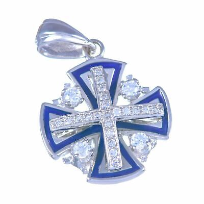 Sterling silver 925 enamel & swarovski fancy Jerusalem cross blessed pendant