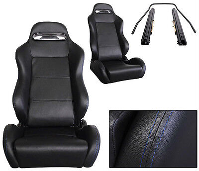 2 Black + Blue Stitch PVC Leather Racing Seats 1964-2011 Ford Mustang Cobra