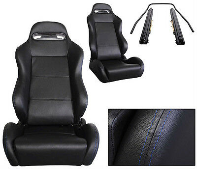 New 2 Black + Blue Stitch Leather Racing Seats Reclinable All Chevrolet *****
