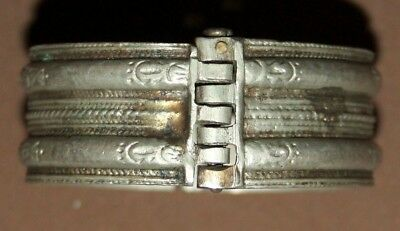 Antique Greek Orthodox silver hinged engraved bracelet