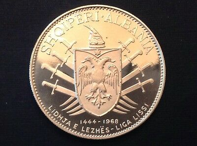 -  Rare 1970 Albania Five 5 Leke .999 Silver Proof - Only 500 Minted
