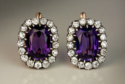 Antique Russian Large Amethyst Diamond Gold Cluster Earrings